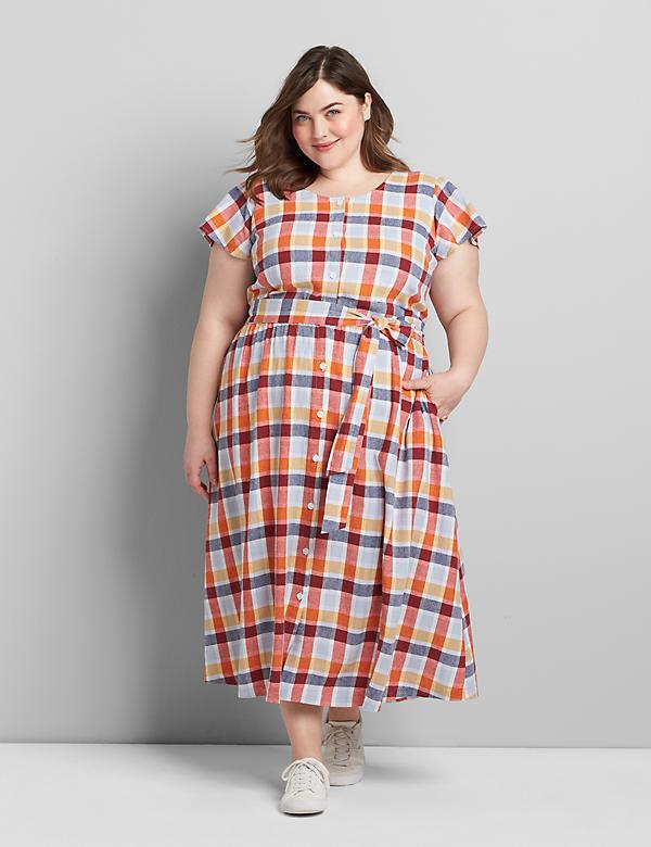 Button-Front Plaid Fit & Flare Dress