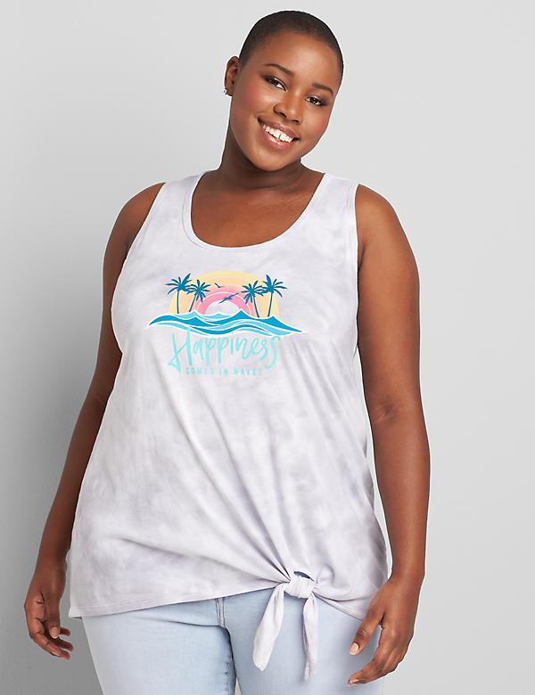 Tie-Hem Happiness Comes in Waves Graphic Tank