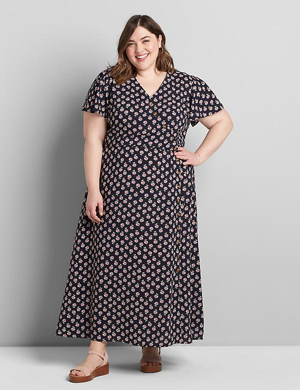 Asymmetrical Button-Front Midi Dress