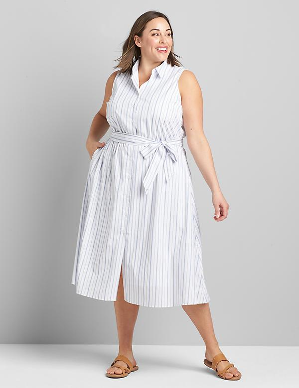Striped Poplin Midi Shirtdress