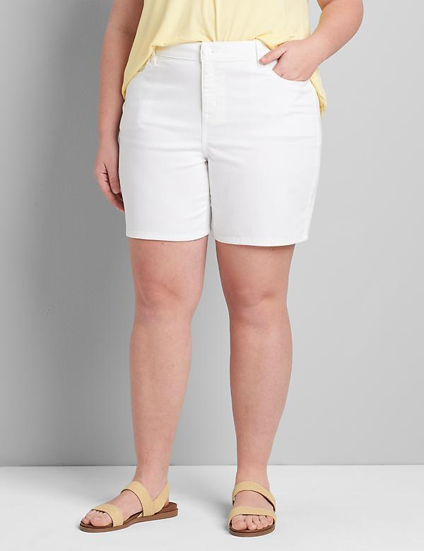 Lane Essentials Venezia Denim Boyfriend Midi Short - White