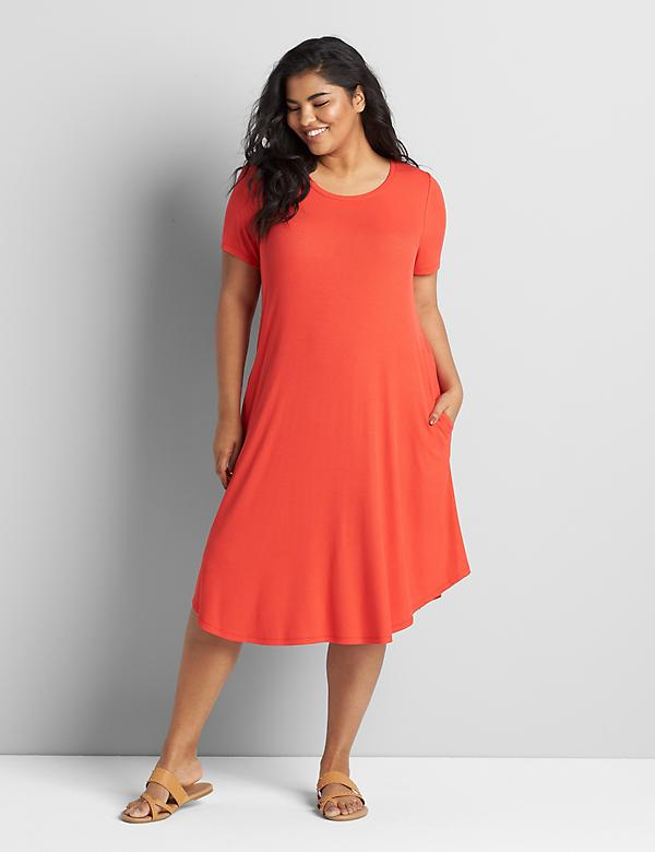 Short-Sleeve Ribbed Swing Dress Dress
