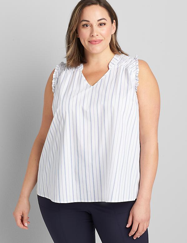 Poplin Shirred-Shoulder Tank
