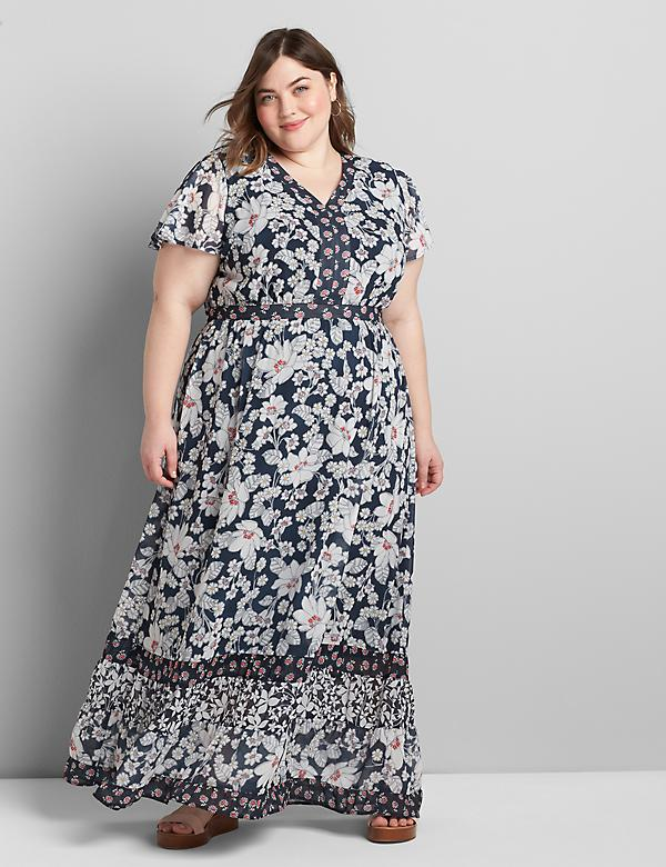 Mixed-Print Flutter-Sleeve Maxi Dress