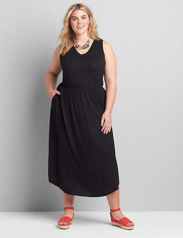 Shirred-Racerback Midi Dress