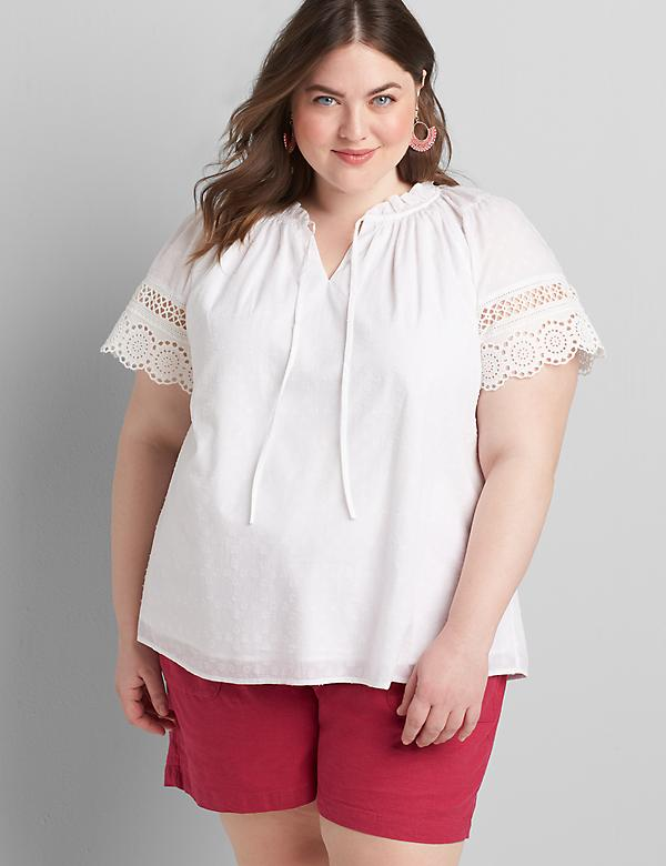Ruffle-Neck Embroidered Peasant Top