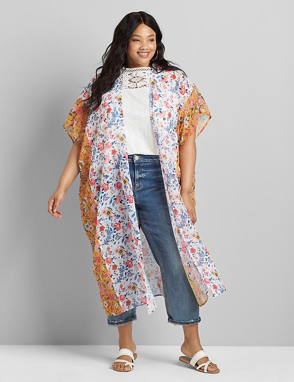Mixed-Print Maxi Overpiece