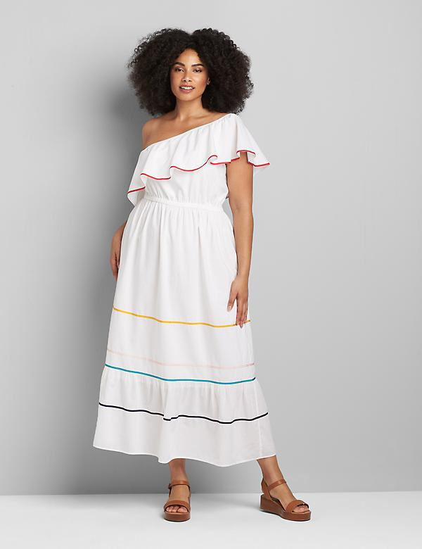 One-Shoulder Ruffle-Hem Maxi Dress