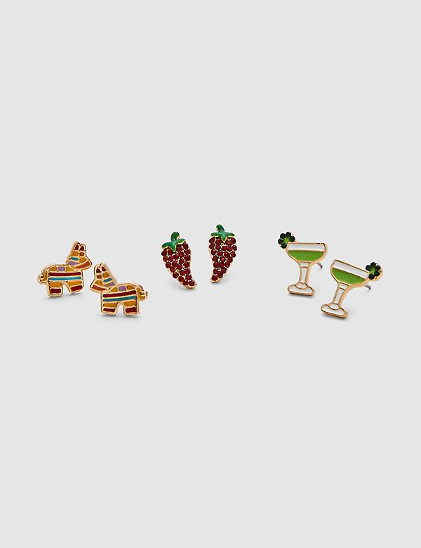 Margarita & Pinata Stud Earrings - 3-Pack