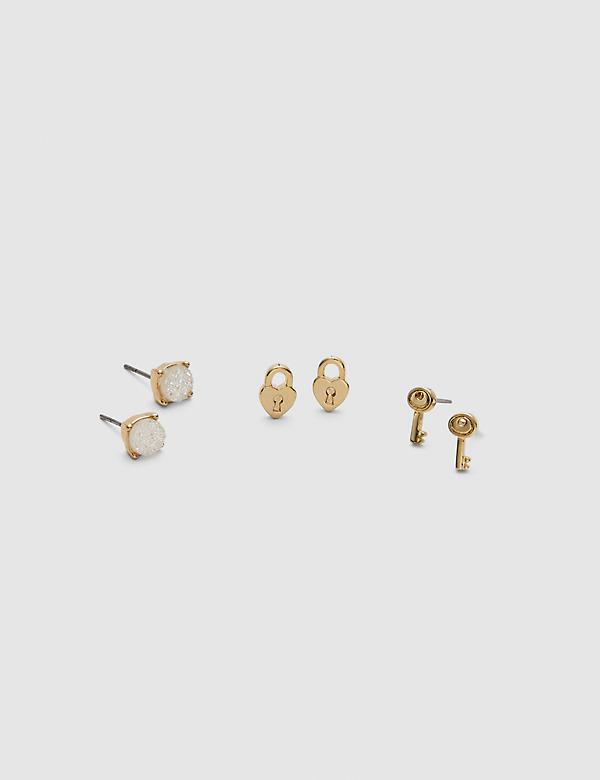 Heart & Key Stud Earrings - 3-Pack