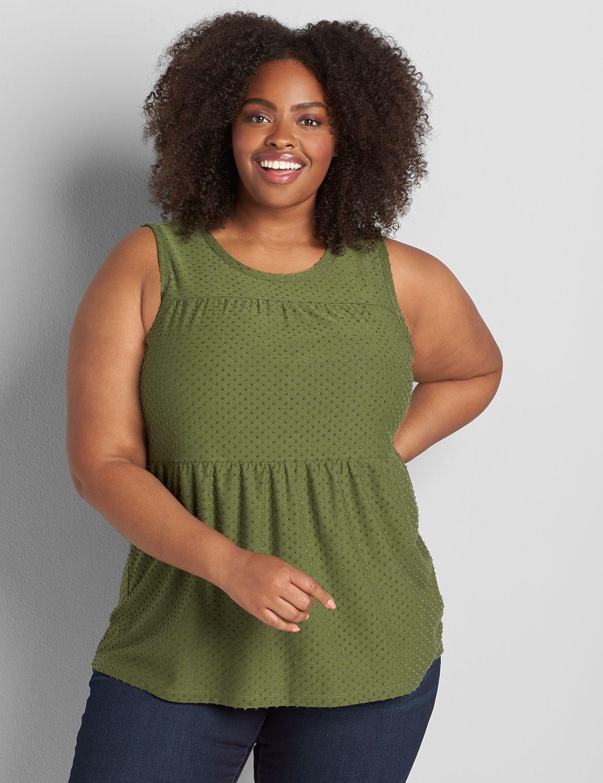 Lane Bryant Women's Clip Dot Seamed Babydoll Subtle Swing Tank 10/12 Bronze Green