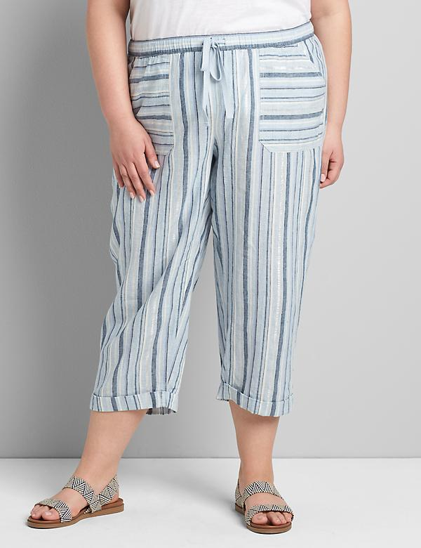 Striped Pull-On Soft Capri Pant