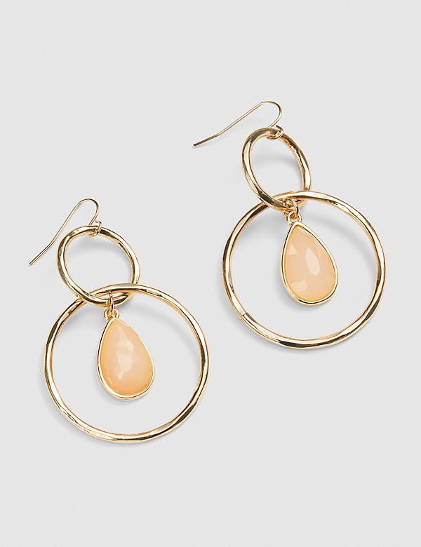 Stone Drop Double Circle Earrings