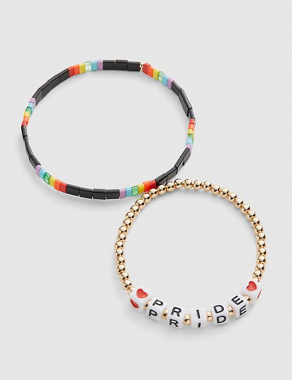 Pride Love & Rainbow Stretch Bracelets - 2 Pack