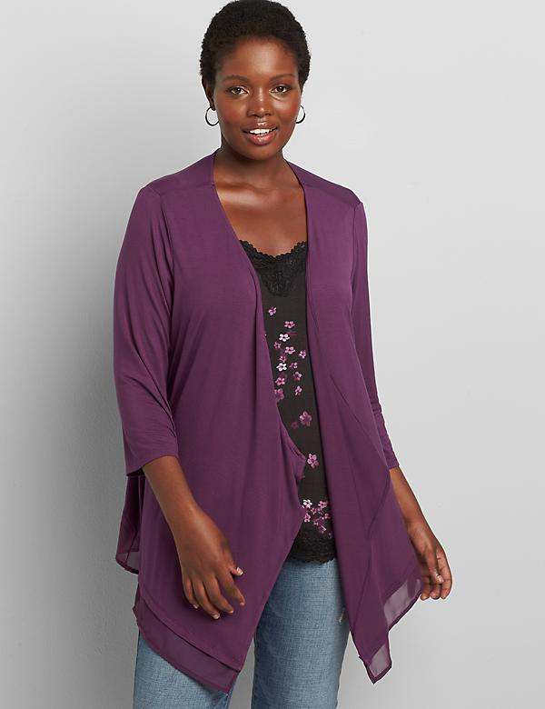 Lane Essentials Chiffon-Trim Drape-Front Cardigan