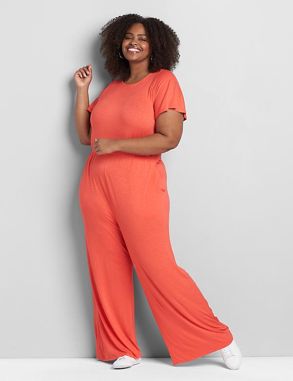 Short-Sleeve Crossover Jumpsuit